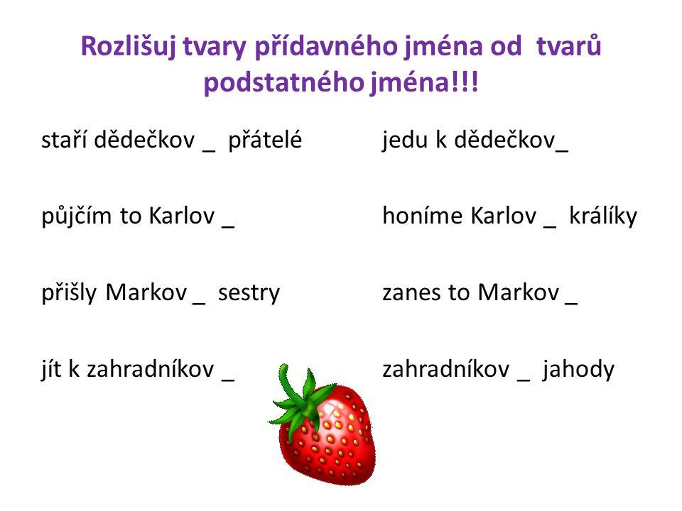 Rozlišuj tvary přídavného jména od tvarů podstatného jména!!! staří dědečkov _ přáteléjedu k dědečkov_ půjčím to Karlov _honíme Karlov _ králíky přišl