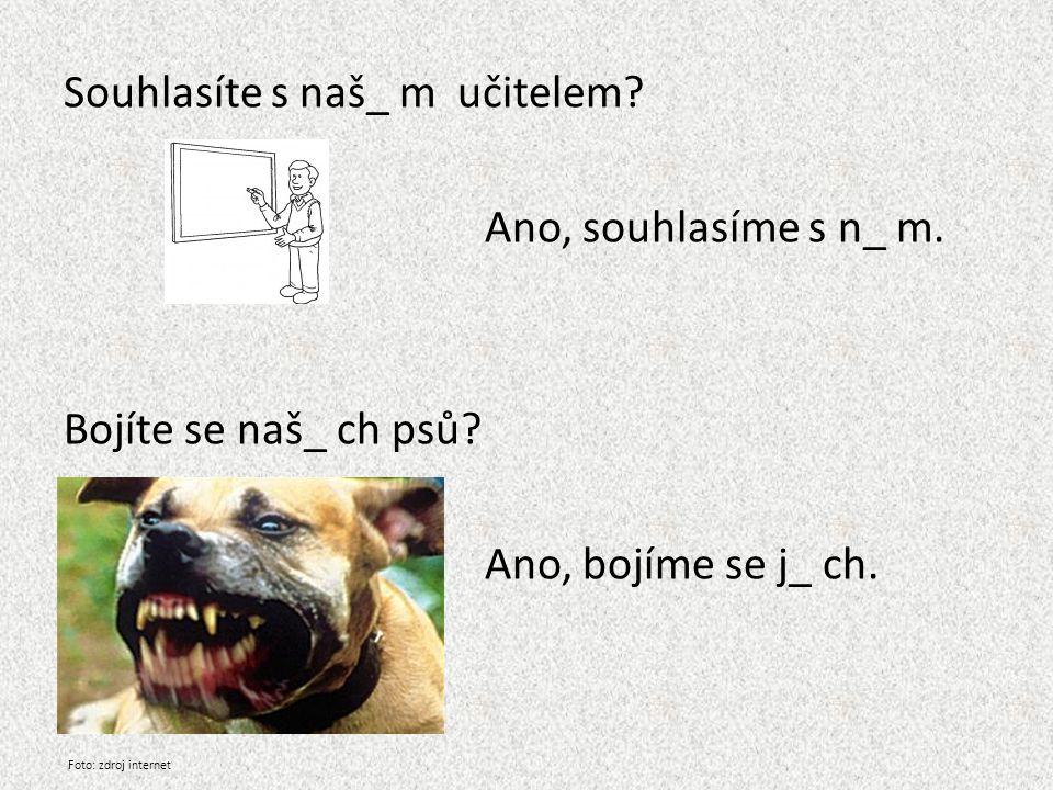 Souhlasíte s naš_ m učitelem? Ano, souhlasíme s n_ m. Bojíte se naš_ ch psů? Ano, bojíme se j_ ch. Foto: zdroj internet