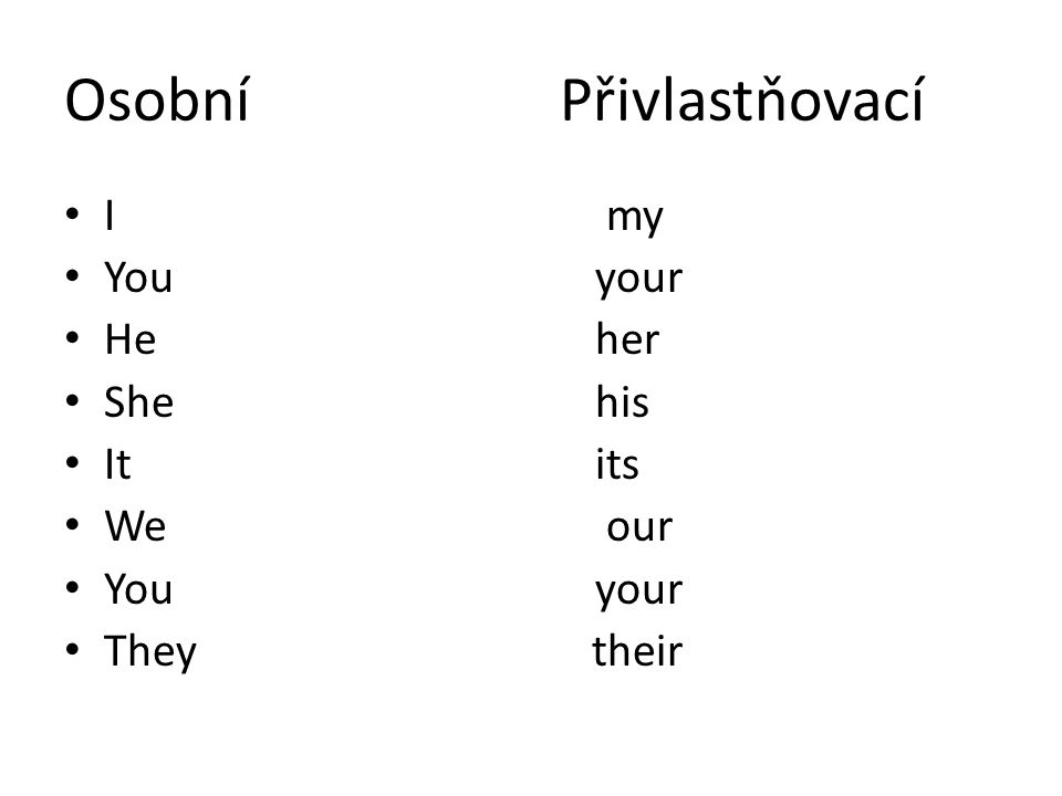 Osobní Přivlastňovací I my Youyour Heher Shehis Itits We our Youyour They their