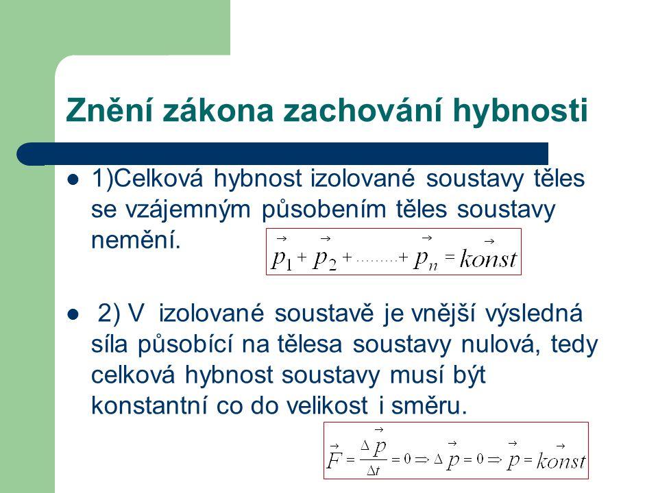 Znění zákona zachování hybnosti 1)Celková hybnost izolované soustavy těles se vzájemným působením těles soustavy nemění.