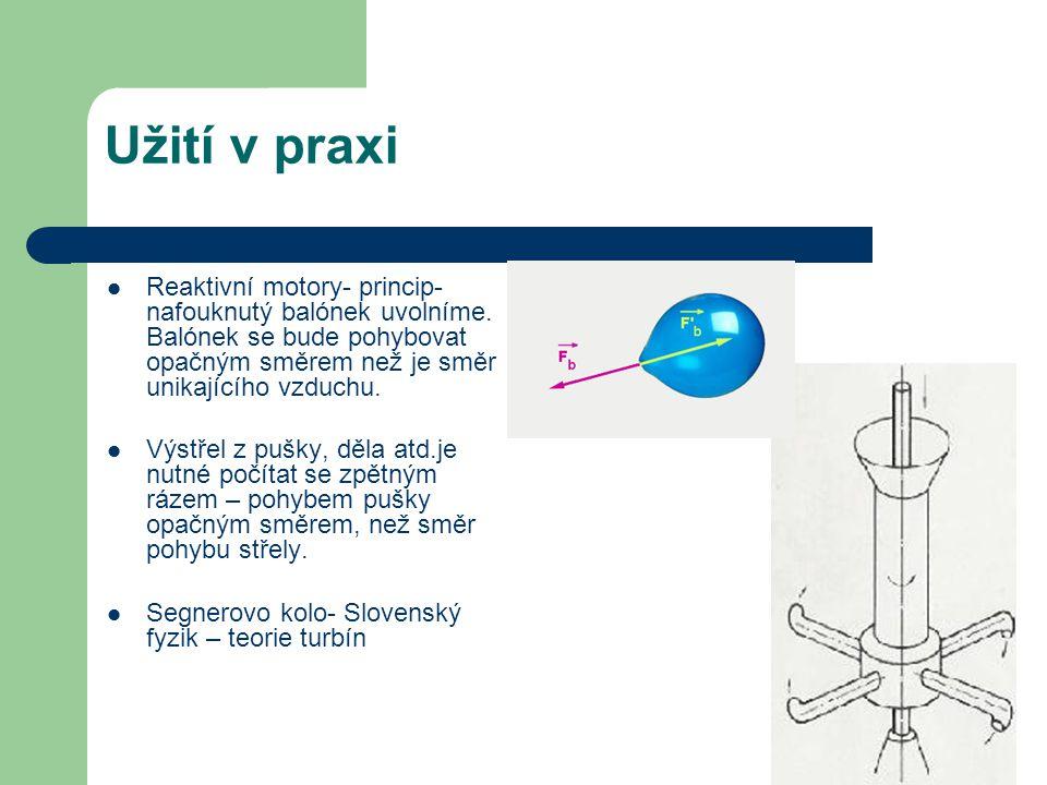 Užití v praxi Reaktivní motory- princip- nafouknutý balónek uvolníme.