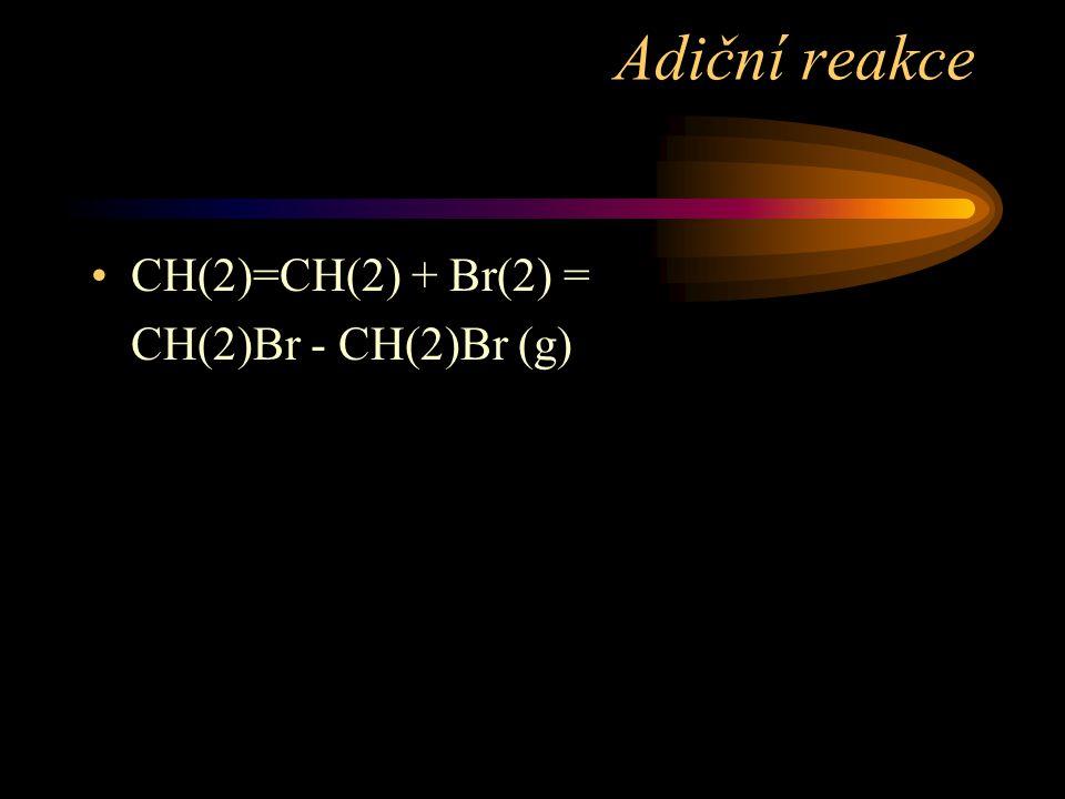 Adiční reakce CH(2)=CH(2) + Br(2) = CH(2)Br - CH(2)Br (g)