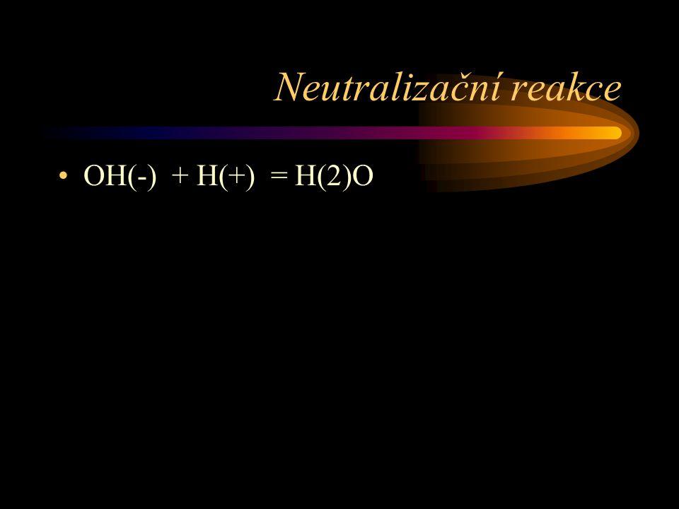 Neutralizační reakce OH(-) + H(+) = H(2)O