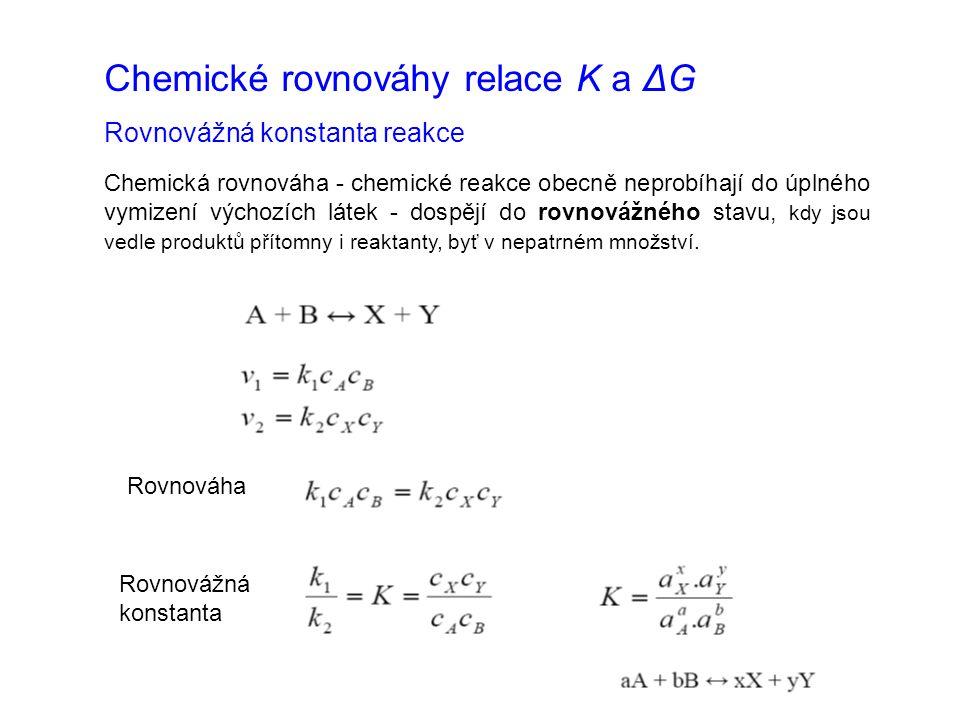 Chemické rovnováhy relace K a ΔG Rovnovážná konstanta reakce Chemická rovnováha - chemické reakce obecně neprobíhají do úplného vymizení výchozích látek - dospějí do rovnovážného stavu, kdy jsou vedle produktů přítomny i reaktanty, byť v nepatrném množství.