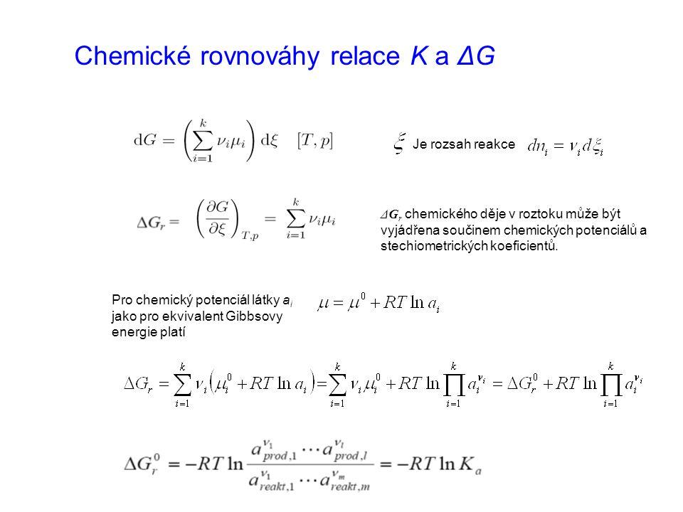 Chemické rovnováhy relace K a ΔG Je rozsah reakce ΔG r chemického děje v roztoku může být vyjádřena součinem chemických potenciálů a stechiometrických koeficientů.