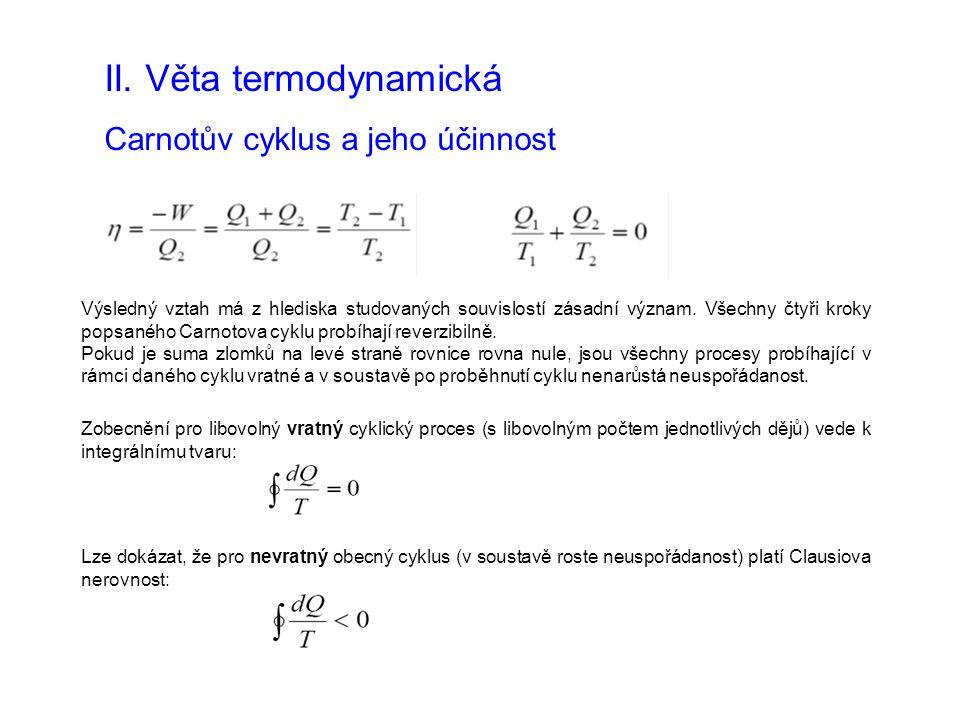 II. Věta termodynamická Carnotův cyklus a jeho účinnost Výsledný vztah má z hlediska studovaných souvislostí zásadní význam. Všechny čtyři kroky popsa