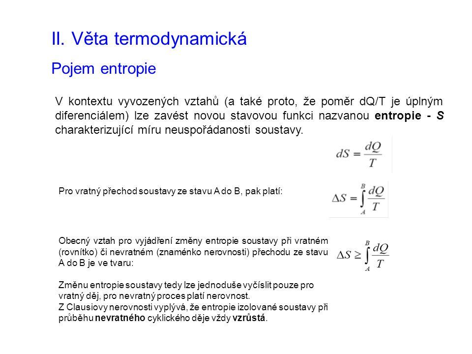 II. Věta termodynamická Pojem entropie V kontextu vyvozených vztahů (a také proto, že poměr dQ/T je úplným diferenciálem) lze zavést novou stavovou fu