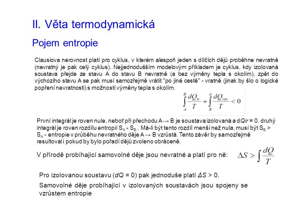 II. Věta termodynamická Pojem entropie Clausiova nerovnost platí pro cyklus, v kterém alespoň jeden s dílčích dějů proběhne nevratně (nevratný je pak