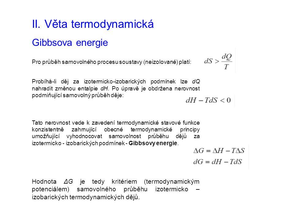 II. Věta termodynamická Gibbsova energie Pro průběh samovolného procesu soustavy (neizolované) platí: Probíhá-li děj za izotermicko-izobarických podmí