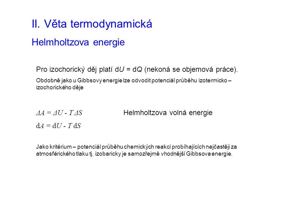 Pro izochorický děj platí dU = dQ (nekoná se objemová práce).