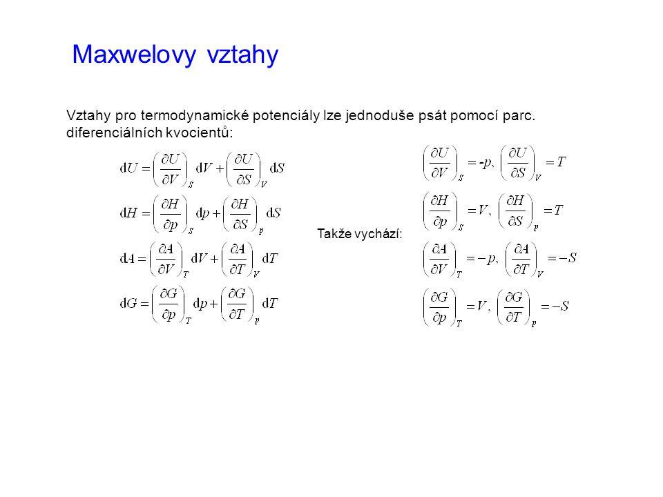 Maxwelovy vztahy Vztahy pro termodynamické potenciály lze jednoduše psát pomocí parc.