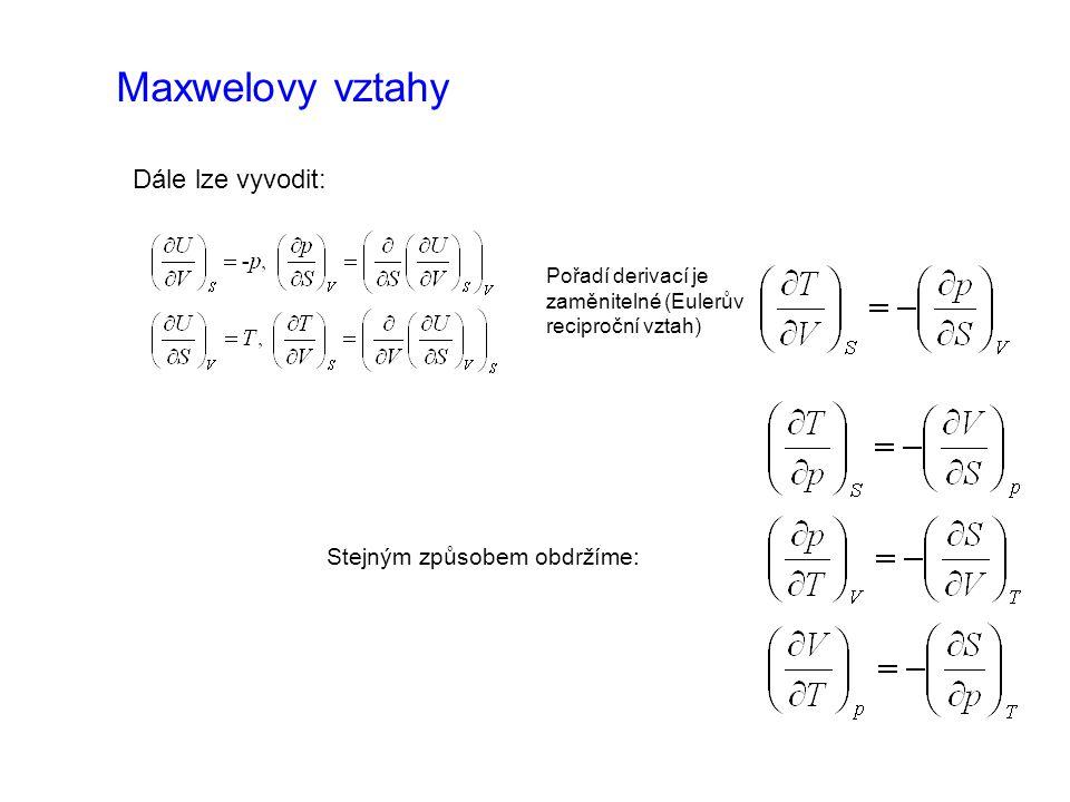 Maxwelovy vztahy Dále lze vyvodit: Pořadí derivací je zaměnitelné (Eulerův reciproční vztah) Stejným způsobem obdržíme: