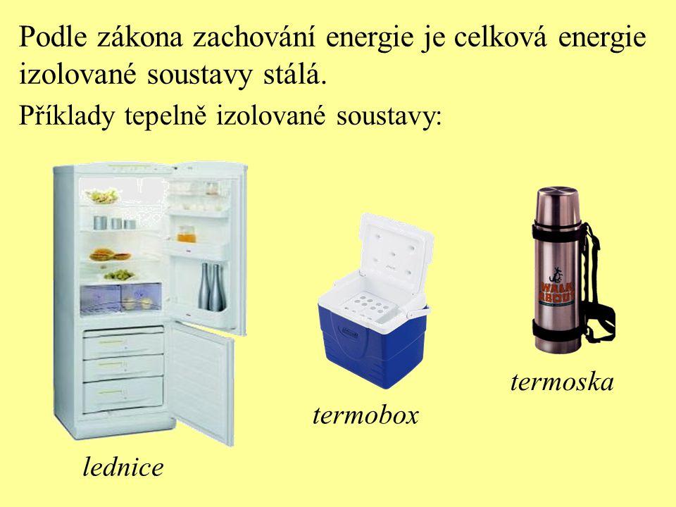 Podle zákona zachování energie je celková energie izolované soustavy stálá. Příklady tepelně izolované soustavy: lednice termobox termoska