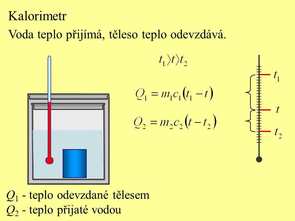 Q 1 - teplo odevzdané tělesem Q 2 - teplo přijaté vodou Kalorimetr Voda teplo přijímá, těleso teplo odevzdává.