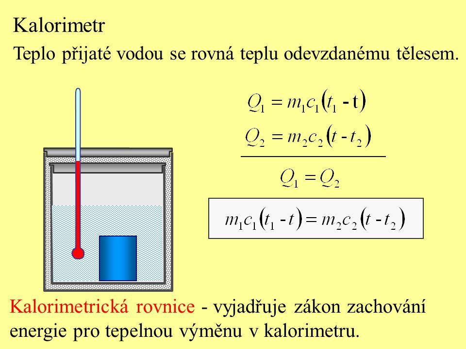 Kalorimetrická rovnice - vyjadřuje zákon zachování energie pro tepelnou výměnu v kalorimetru. Kalorimetr Teplo přijaté vodou se rovná teplu odevzdaném