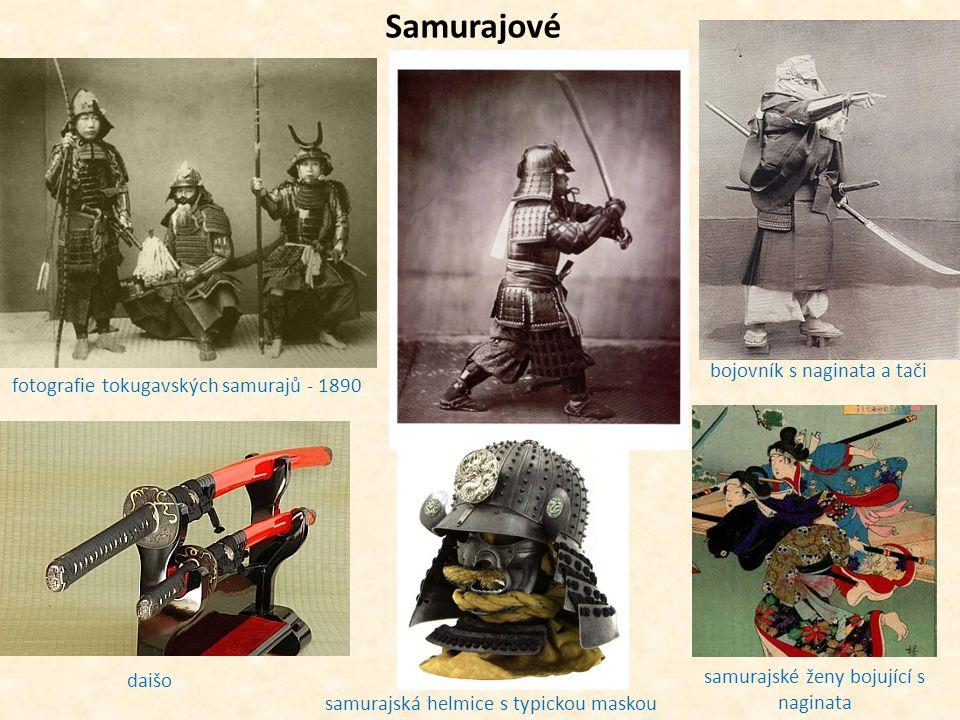 Samurajové fotografie tokugavských samurajů - 1890 daišo bojovník s naginata a tači samurajská helmice s typickou maskou samurajské ženy bojující s na