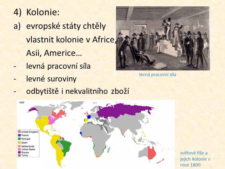 4)Kolonie: a)evropské státy chtěly vlastnit kolonie v Africe, Asii, Americe… -levná pracovní síla -levné suroviny -odbytiště i nekvalitního zboží svět