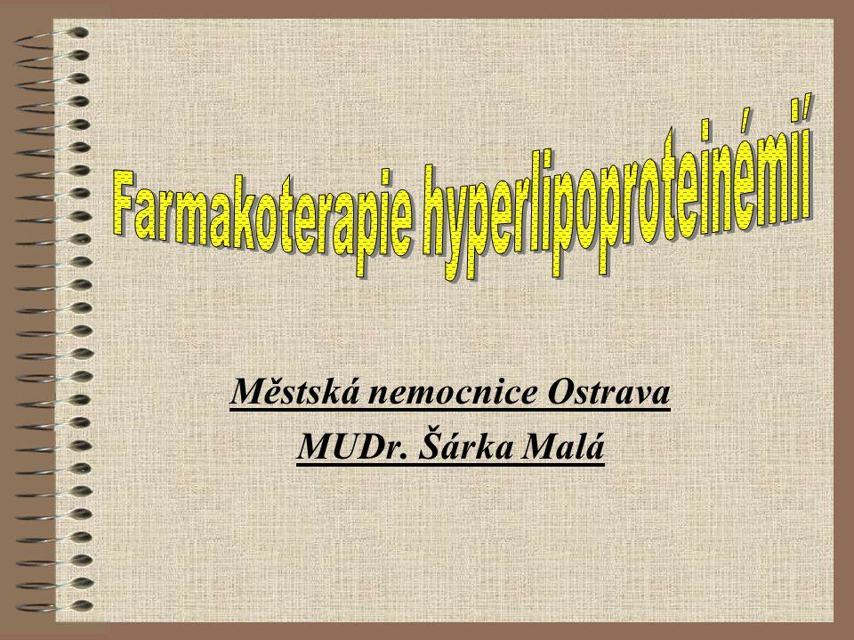 Fibráty na českém trhu Gener.látka Název léku Dávka bezafibrátRegadrin B400-600 mg/d fenofibrátLipanthyl 100200-300 mg/d gemfibrozilGevilon, Apo- Gemfibrozil 900-1200 mg/d fenofibrátLipanthyl 160M,200M,267M fenofibrátFenofibrate 250 BMS Apo-Feno 200 ciprofibrátLipanor100 mg/d