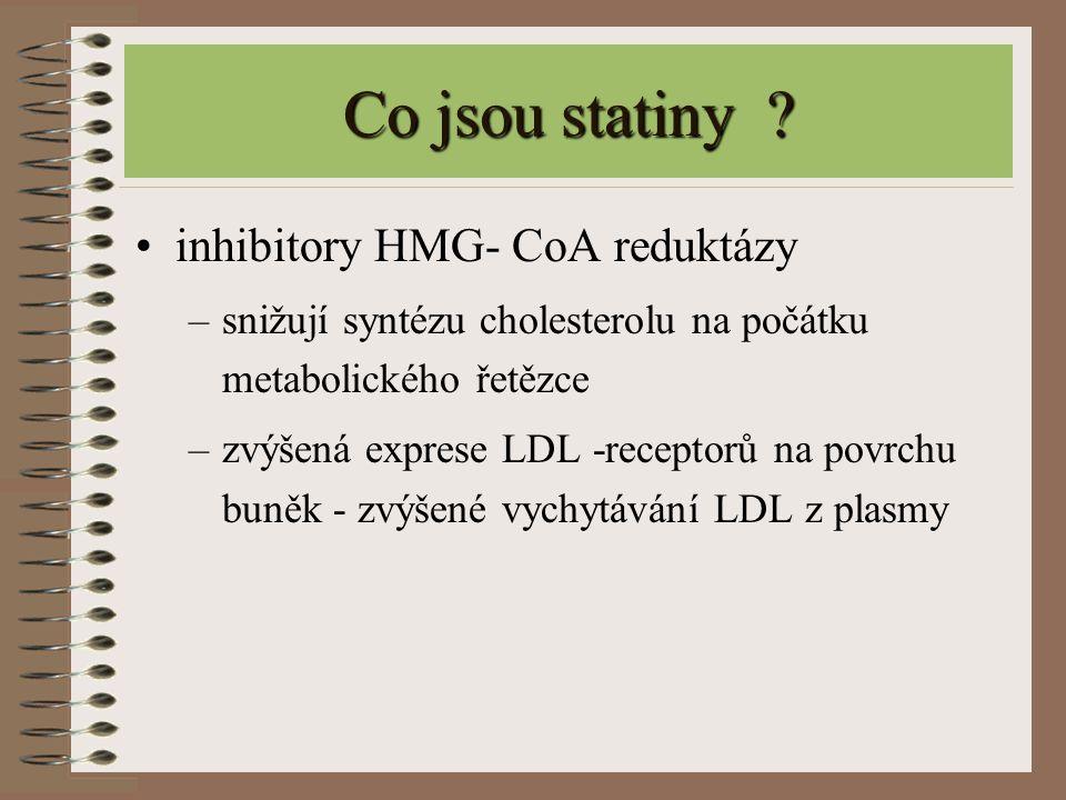 Co jsou statiny ? inhibitory HMG- CoA reduktázy –snižují syntézu cholesterolu na počátku metabolického řetězce –zvýšená exprese LDL -receptorů na povr