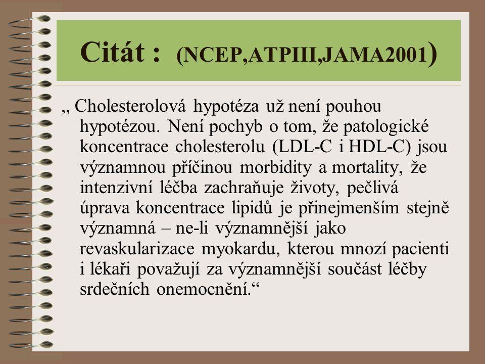 """Citát : (NCEP,ATPIII,JAMA2001 ) """" Cholesterolová hypotéza už není pouhou hypotézou. Není pochyb o tom, že patologické koncentrace cholesterolu (LDL-C"""