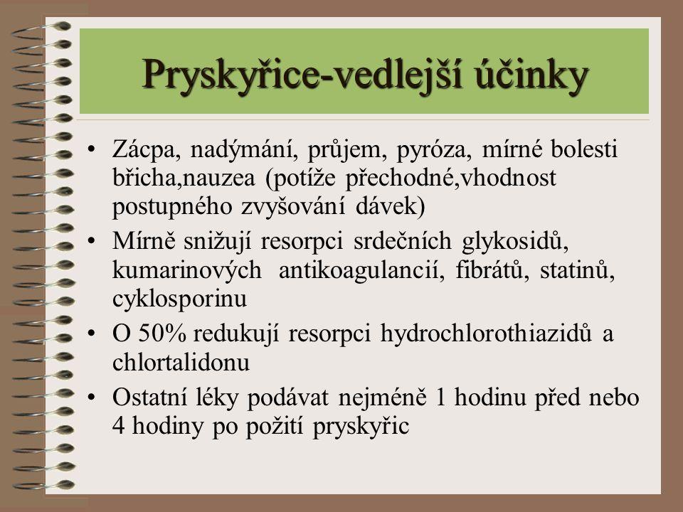 Pryskyřice-vedlejší účinky Zácpa, nadýmání, průjem, pyróza, mírné bolesti břicha,nauzea (potíže přechodné,vhodnost postupného zvyšování dávek) Mírně s