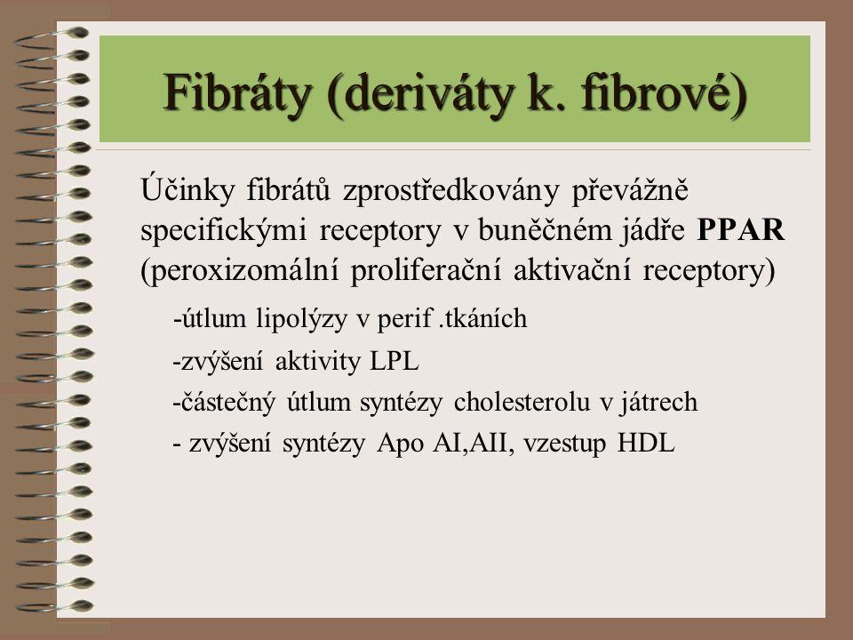 Fibráty (deriváty k. fibrové) Účinky fibrátů zprostředkovány převážně specifickými receptory v buněčném jádře PPAR (peroxizomální proliferační aktivač