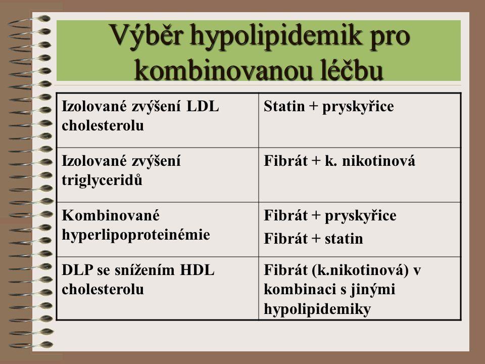 Výběr hypolipidemik pro kombinovanou léčbu Izolované zvýšení LDL cholesterolu Statin + pryskyřice Izolované zvýšení triglyceridů Fibrát + k. nikotinov