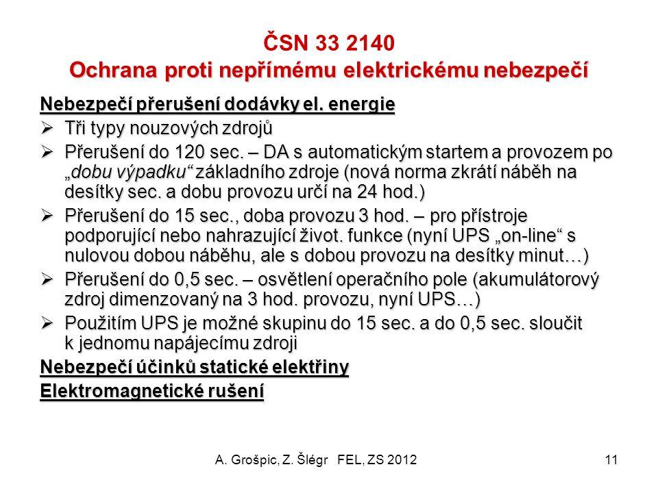 Přehled požadavků na elektrické rozvody (2) ČSN 33 2140 Přehled požadavků na elektrické rozvody (2)  Hlavní nouzový zdroj el. energie – požadavek GE