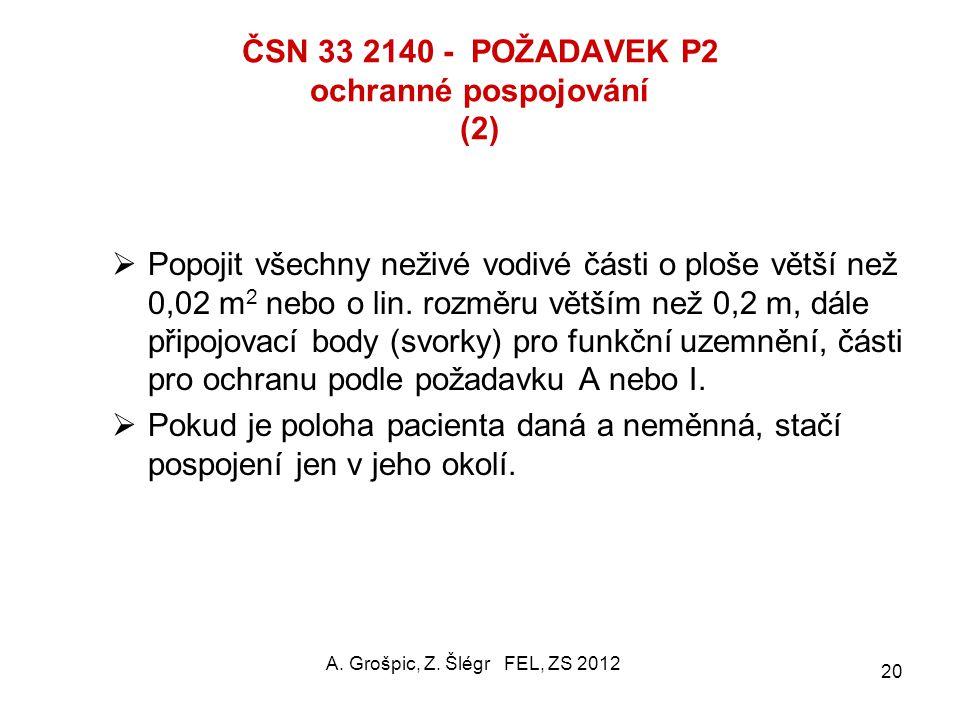 ČSN 33 2140 - POŽADAVEK P2 ochranné pospojování (1) Účel: zajištění ekvipotenciálního stavu na všech vodivých neživých předmětech v MLÚ.  Vodiče: izo