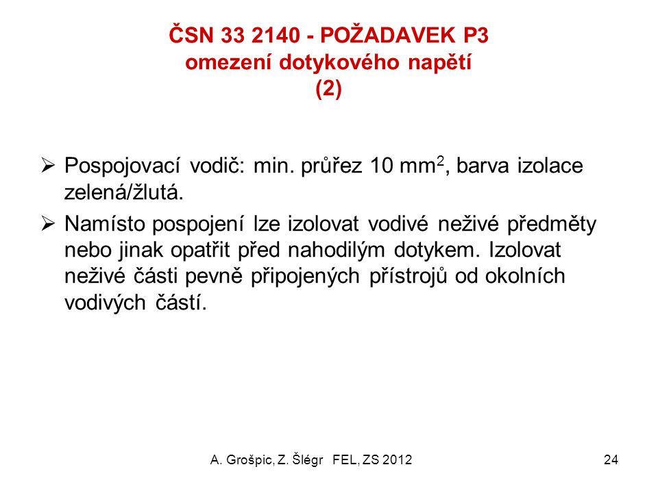 ČSN 33 2140 - POŽADAVEK P3 omezení dotykového napětí (1) Účel: přídavné opatření k P2 pro zajištění zaručeně nízkého potenciálového rozdílu mezi přípo