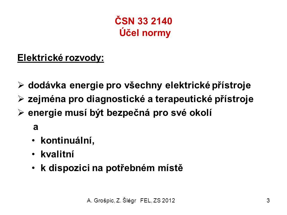 ČSN 33 2140 elektrický rozvod v MÍSTNOSTECH pro lékařské účely A. Grošpic, Z. Šlégr FEL, ZS 20122