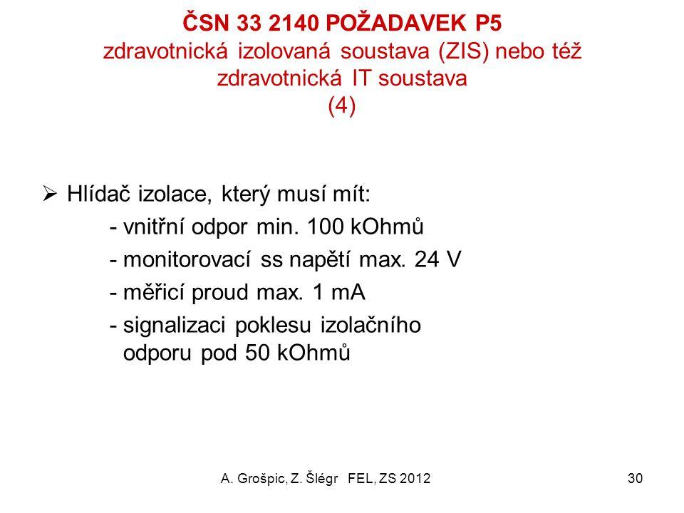 ČSN 33 2140 POŽADAVEK P5 zdravotnická izolovaná soustava (ZIS) nebo též zdravotnická IT soustava (3)  V každé MLÚ minimálně dva zásuvkové okruhy; zás