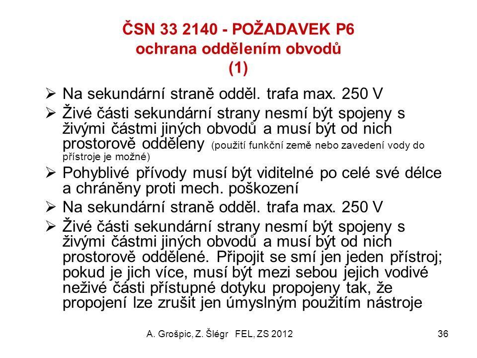 ČSN 33 2140 POŽADAVEK P5 zdravotnická izolovaná soustava (ZIS) nebo též zdravotnická IT soustava (6) Impedanci ZIS proti zemi snižuje její kapacita pr