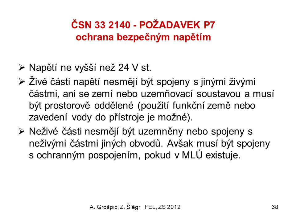 ČSN 33 2140 - POŽADAVEK P6 ochrana oddělením obvodů (2) L PEN Spotřebič A. Grošpic, Z. Šlégr FEL, ZS 201237