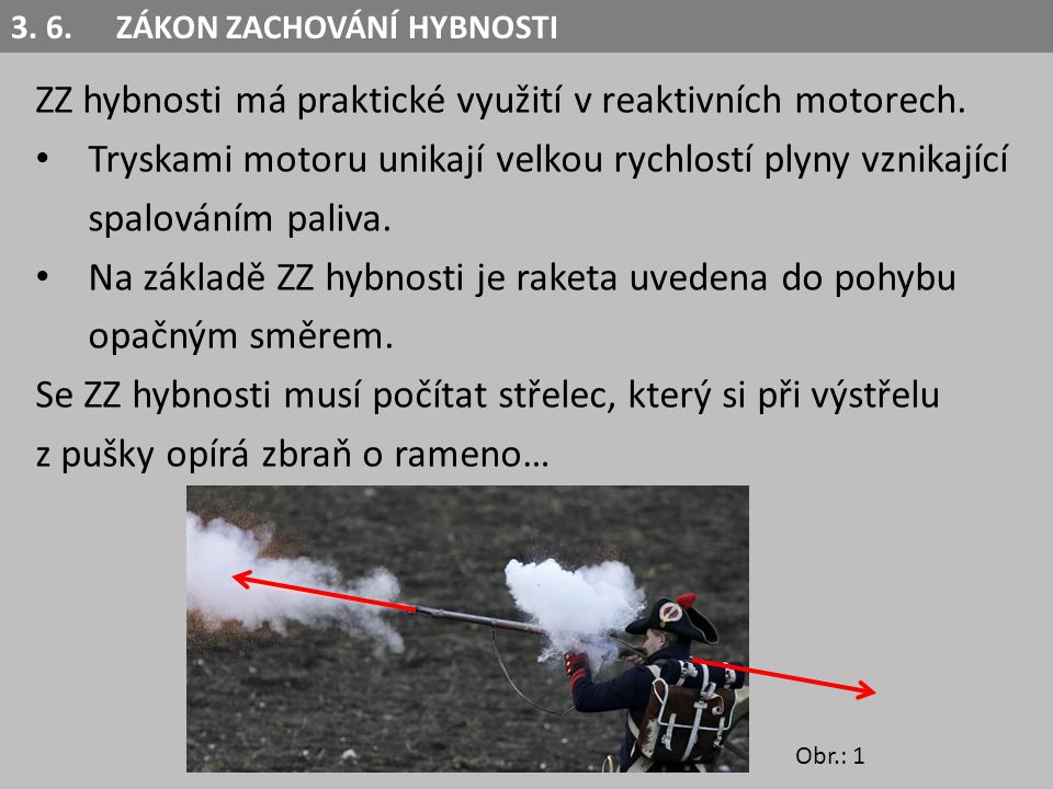 ZZ hybnosti má praktické využití v reaktivních motorech. Tryskami motoru unikají velkou rychlostí plyny vznikající spalováním paliva. Na základě ZZ hy