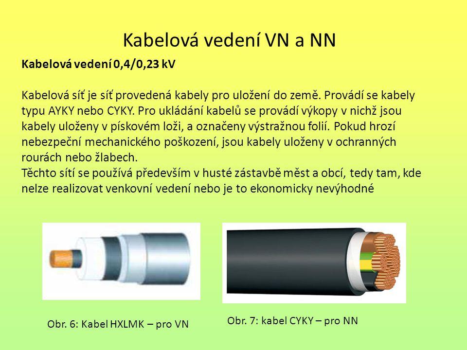 Kabelová vedení VN a NN Kabelová vedení 0,4/0,23 kV Kabelová síť je síť provedená kabely pro uložení do země. Provádí se kabely typu AYKY nebo CYKY. P