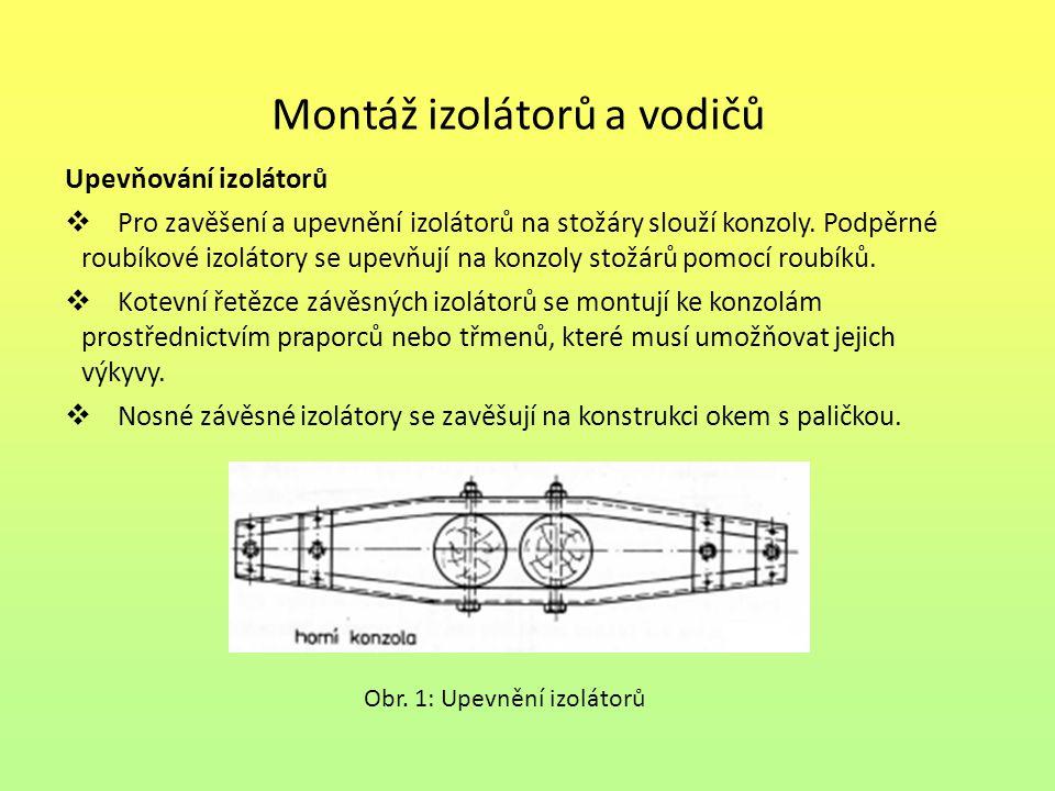 Montáž izolátorů a vodičů Upevňování izolátorů  Pro zavěšení a upevnění izolátorů na stožáry slouží konzoly. Podpěrné roubíkové izolátory se upevňují