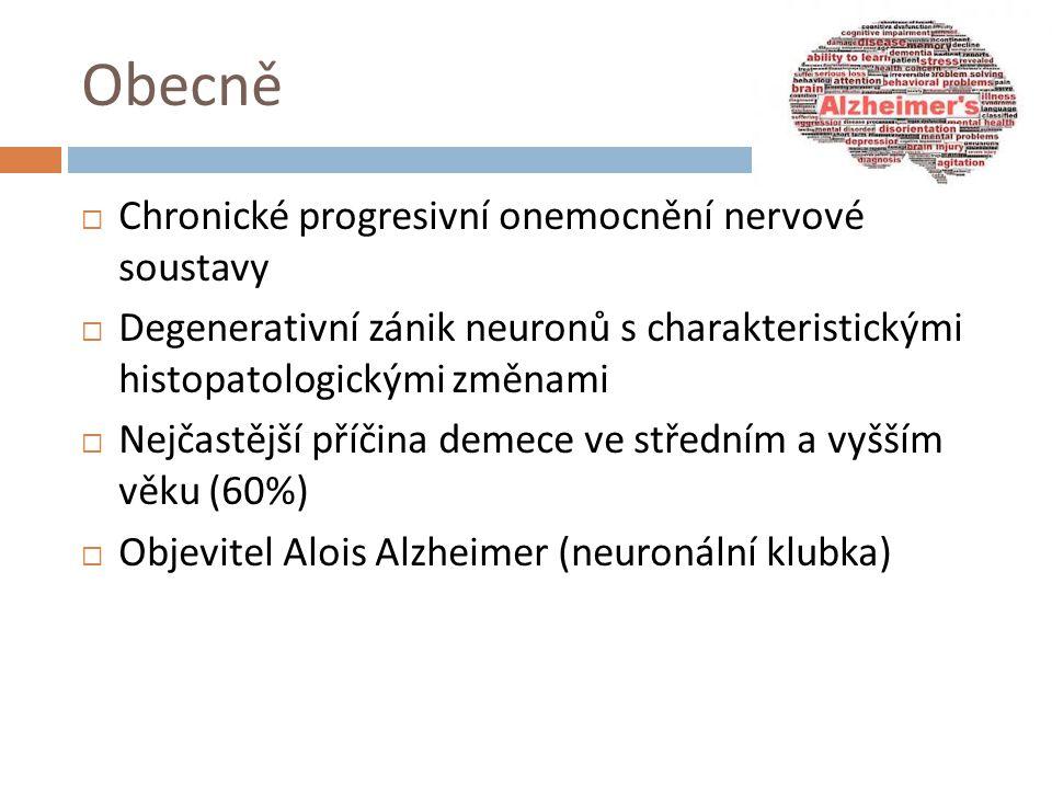 Obecně  Chronické progresivní onemocnění nervové soustavy  Degenerativní zánik neuronů s charakteristickými histopatologickými změnami  Nejčastější