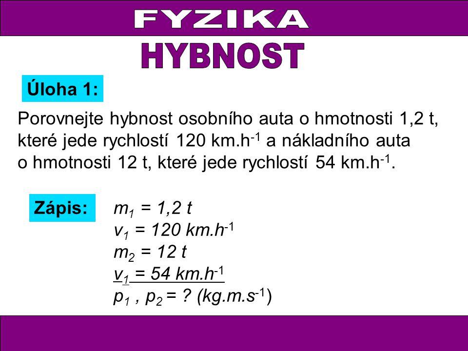Úloha 1: Zápis: m 1 = 1,2 t v 1 = 120 km.h -1 m 2 = 12 t v 1 = 54 km.h -1 p 1, p 2 = ? (kg.m.s -1 ) Porovnejte hybnost osobního auta o hmotnosti 1,2 t