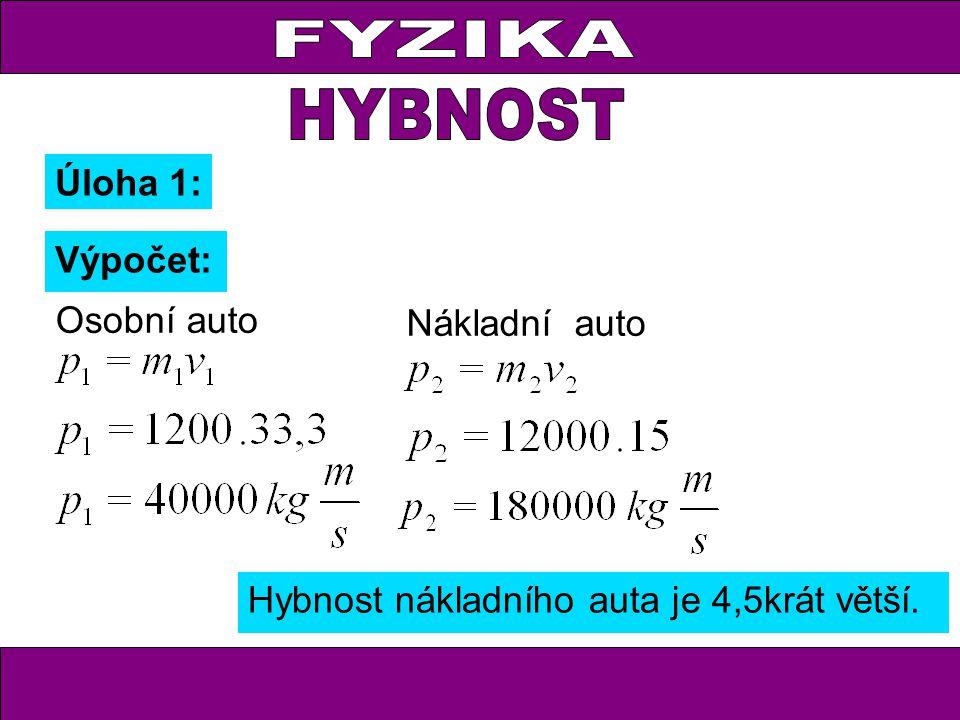 FYZIKA Úloha 1: Výpočet: Hybnost nákladního auta je 4,5krát větší. Osobní auto Nákladní auto