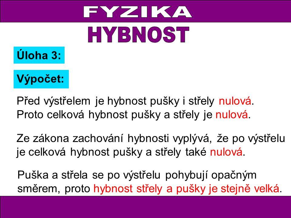Úloha 3: Výpočet: Před výstřelem je hybnost pušky i střely nulová. Proto celková hybnost pušky a střely je nulová. Ze zákona zachování hybnosti vyplýv