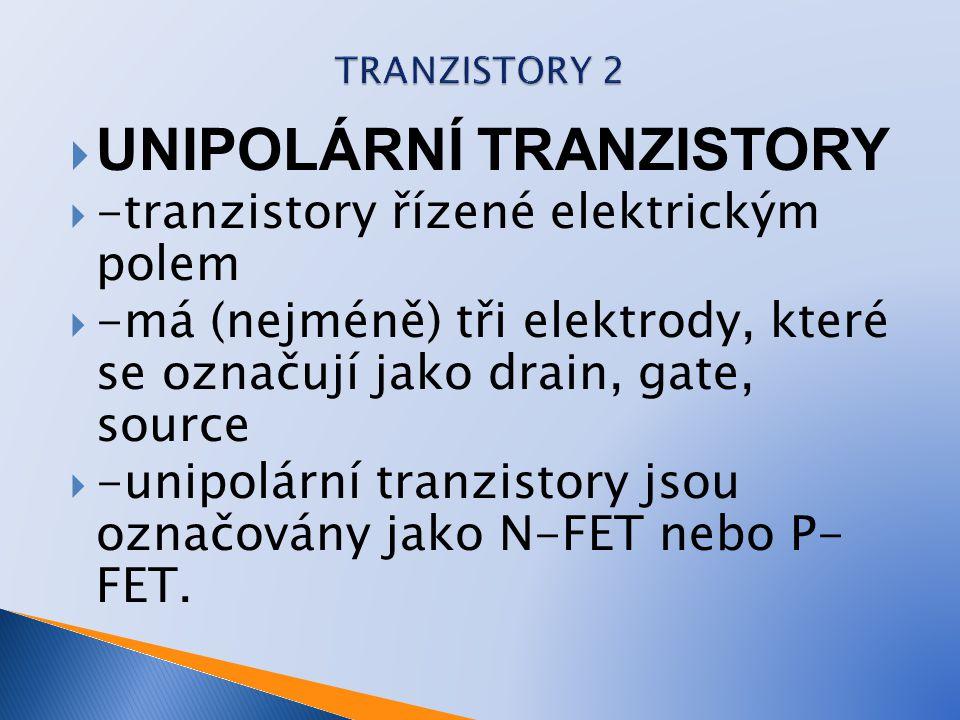 UNIPOLÁRNÍ TRANZISTORY  -tranzistory řízené elektrickým polem  -má (nejméně) tři elektrody, které se označují jako drain, gate, source  -unipolár