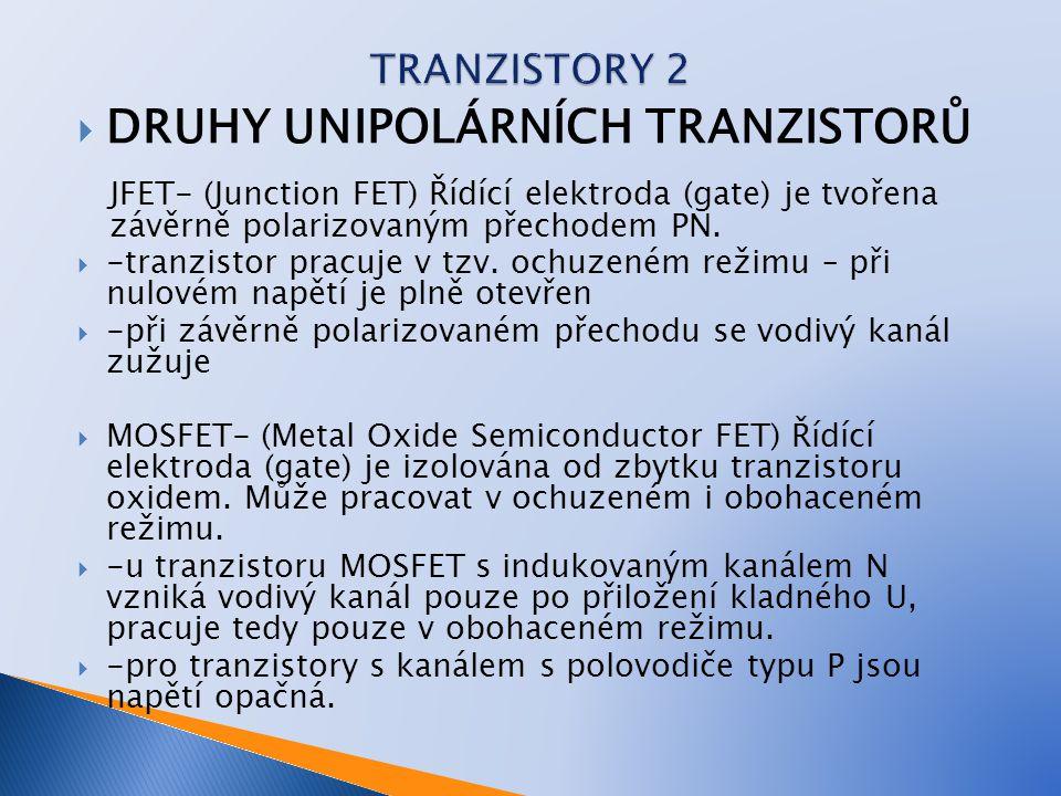  DRUHY UNIPOLÁRNÍCH TRANZISTORŮ JFET- (Junction FET) Řídící elektroda (gate) je tvořena závěrně polarizovaným přechodem PN.  -tranzistor pracuje v t