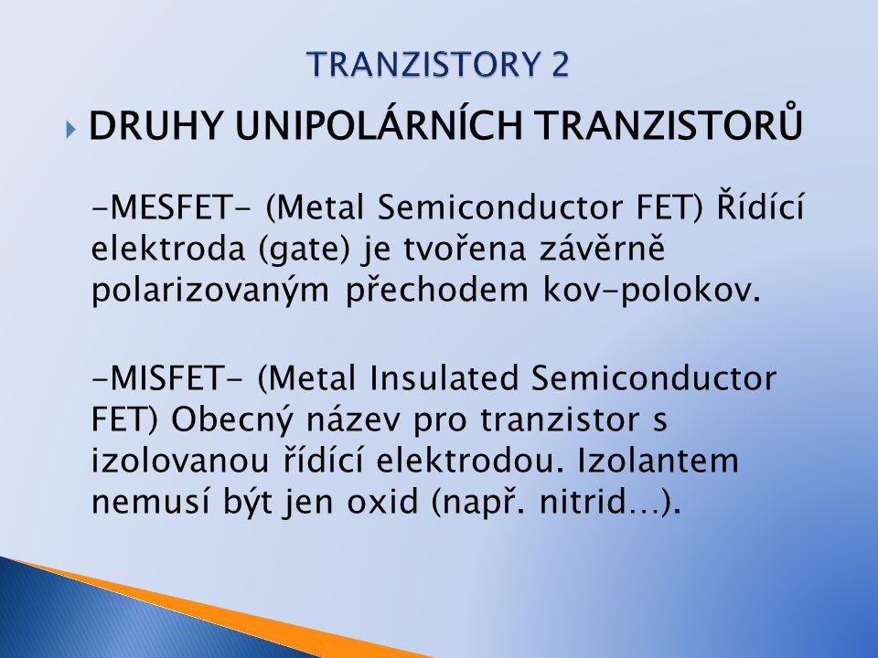  DRUHY UNIPOLÁRNÍCH TRANZISTORŮ -MESFET- (Metal Semiconductor FET) Řídící elektroda (gate) je tvořena závěrně polarizovaným přechodem kov-polokov. -M