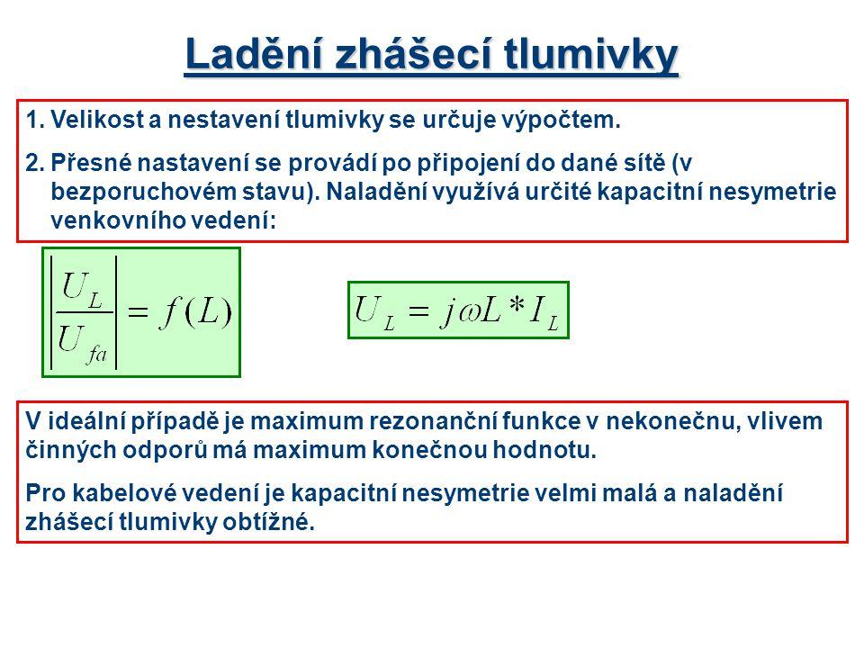 Ladění zhášecí tlumivky 1.Velikost a nestavení tlumivky se určuje výpočtem. 2.Přesné nastavení se provádí po připojení do dané sítě (v bezporuchovém s