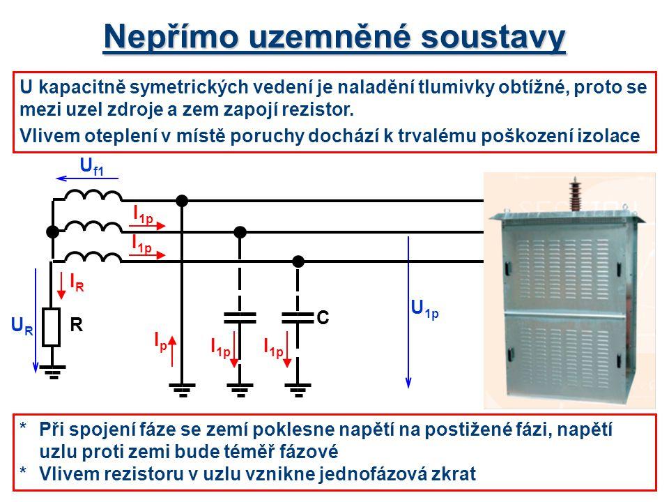 Nepřímo uzemněné soustavy U kapacitně symetrických vedení je naladění tlumivky obtížné, proto se mezi uzel zdroje a zem zapojí rezistor. Vlivem oteple