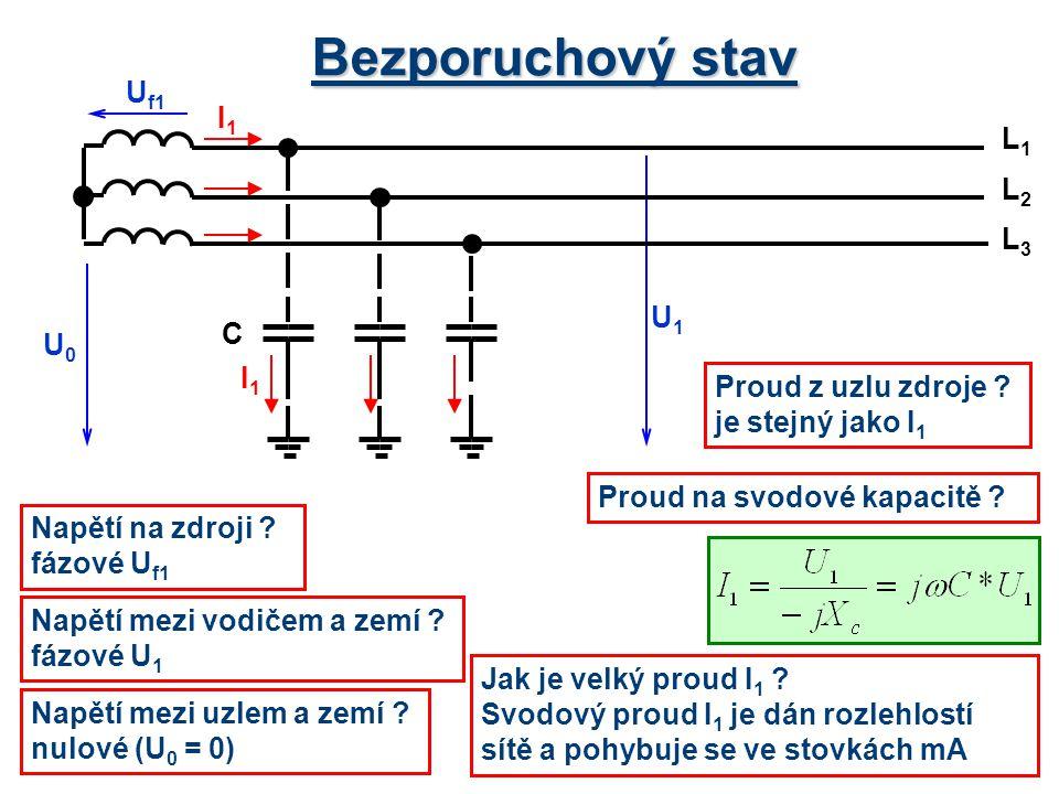 Bezporuchový stav Napětí na zdroji ? fázové U f1 U0U0 U f1 U1U1 L1L1 L3L3 L2L2 C I1I1 I1I1 Napětí mezi vodičem a zemí ? fázové U 1 Napětí mezi uzlem a