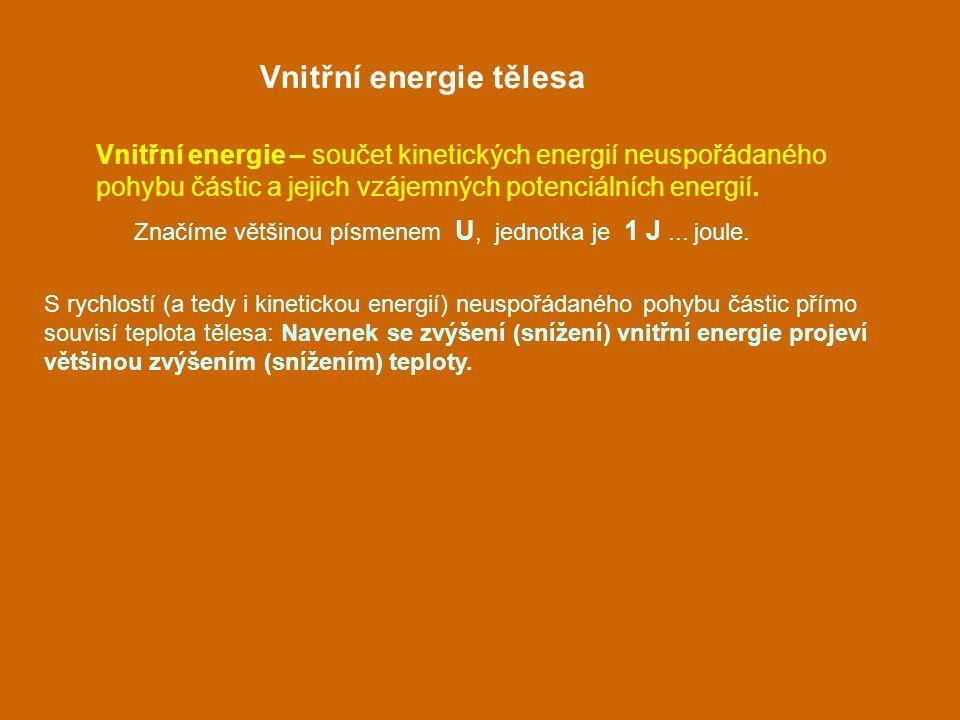 Vnitřní energie tělesa Vnitřní energie – součet kinetických energií neuspořádaného pohybu částic a jejich vzájemných potenciálních energií. S rychlost