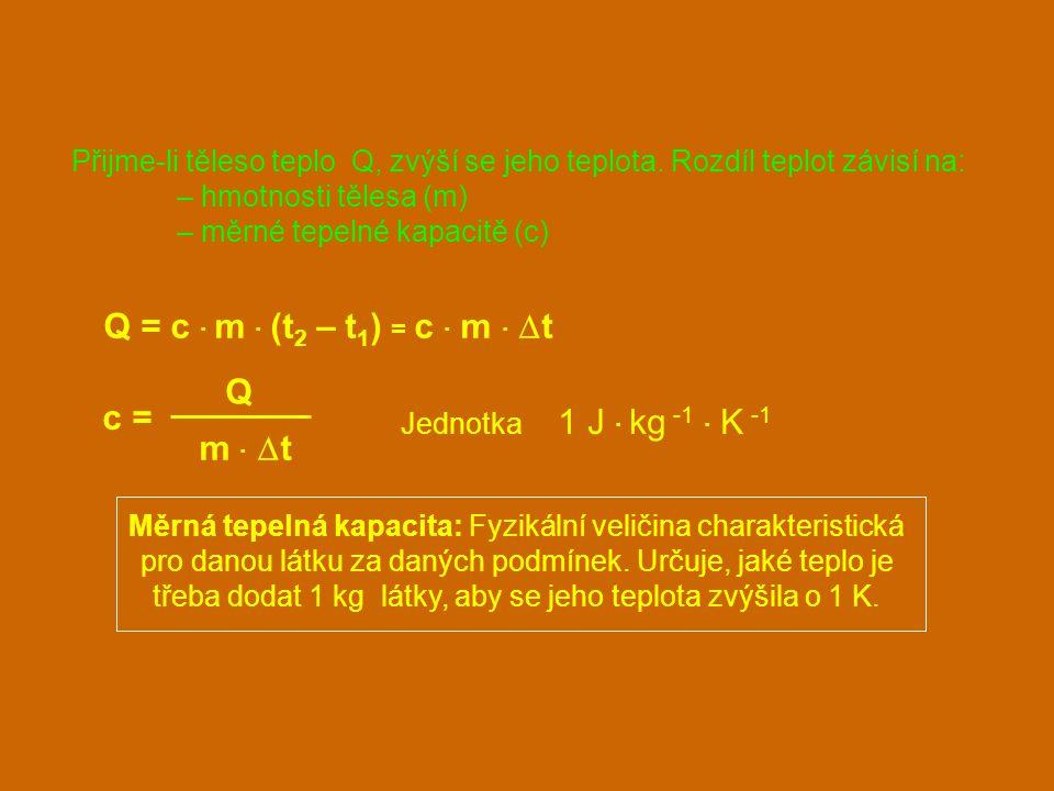 Přijme-li těleso teplo Q, zvýší se jeho teplota. Rozdíl teplot závisí na: – hmotnosti tělesa (m) – měrné tepelné kapacitě (c) Q = c · m · (t 2 – t 1 )