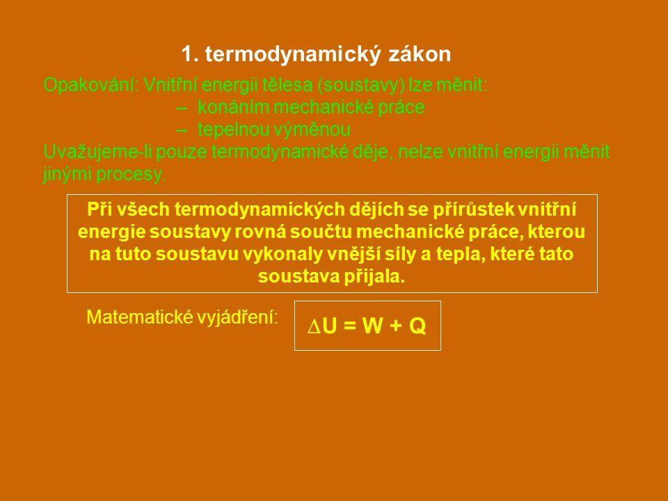 Při všech termodynamických dějích se přírůstek vnitřní energie soustavy rovná součtu mechanické práce, kterou na tuto soustavu vykonaly vnější síly a